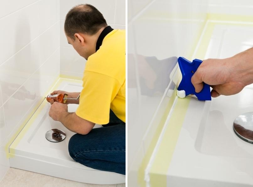 Применение силиконового герметика в душевой кабине против грибка